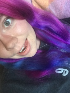 My purple, pink and blue hair colour